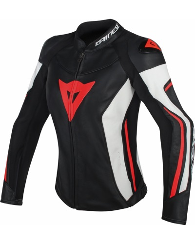 DAINESE  cuir Assen lady N-B-ROUGE FLUO